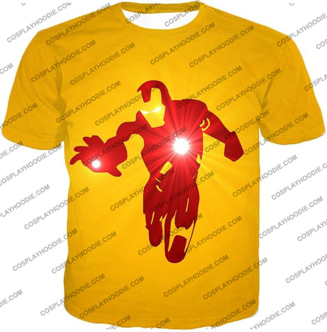 Image of Awesome Iron Man Action Yellow T-Shirt Im030 / Us Xxs (Asian Xs)