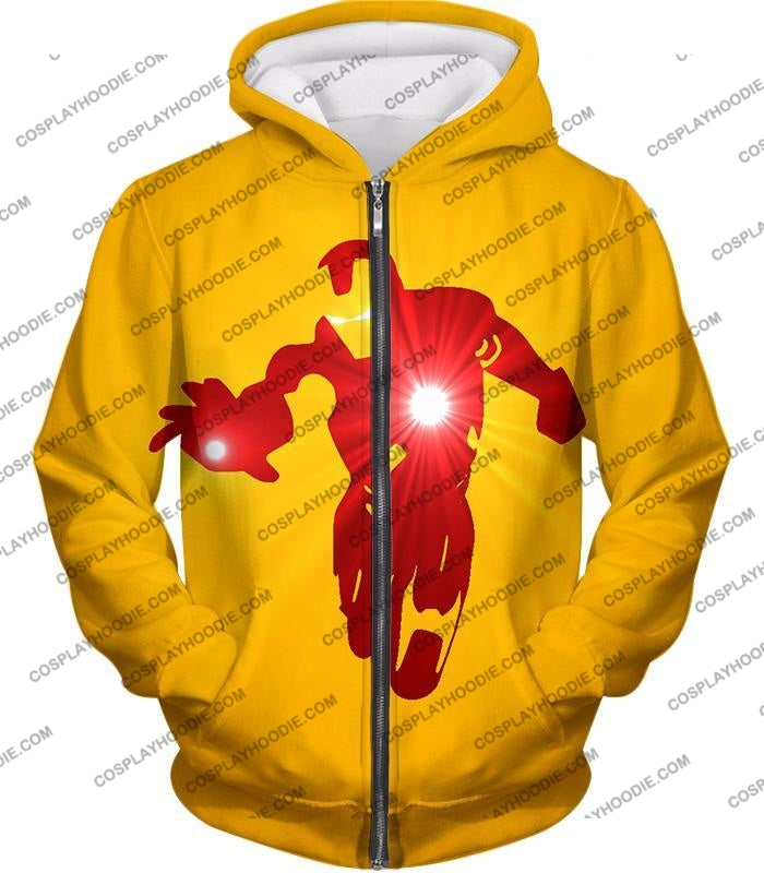 Awesome Iron Man Action Yellow T-Shirt Im030 Zip Up Hoodie / Us Xxs (Asian Xs)