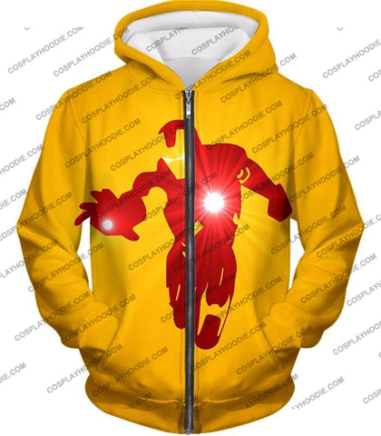 Image of Awesome Iron Man Action Yellow T-Shirt Im030 Zip Up Hoodie / Us Xxs (Asian Xs)