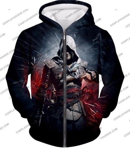 Image of Edward James Kenway Incredible Black Flag Assassin Promo T-Shirt Ac030 Zip Up Hoodie / Us Xxs (Asian