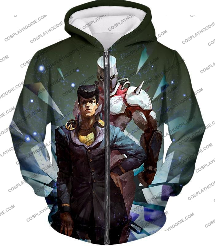 Jojos Diamond Is Unbreakable C Josuke Higashikata X Crazy Graphic T-Shirt Jo030 Zip Up Hoodie / Us