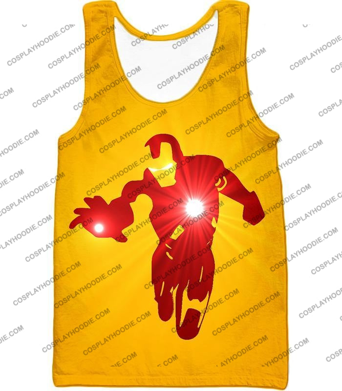 Awesome Iron Man Action Yellow T-Shirt Im030 Tank Top / Us Xxs (Asian Xs)