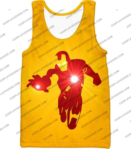 Image of Awesome Iron Man Action Yellow T-Shirt Im030 Tank Top / Us Xxs (Asian Xs)