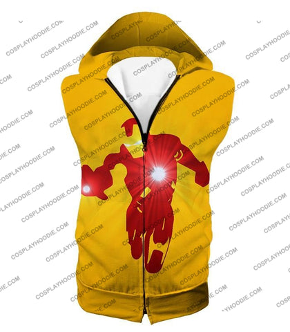 Image of Awesome Iron Man Action Yellow T-Shirt Im030 Hooded Tank Top / Us Xxs (Asian Xs)