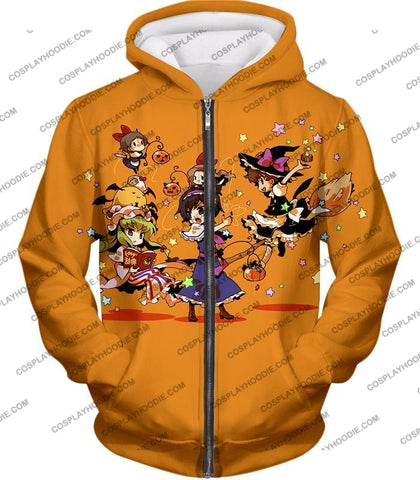 Image of Code Geass Super Cute Anime Promo Cool Orange T-Shirt Cg031 Zip Up Hoodie / Us Xxs (Asian Xs)