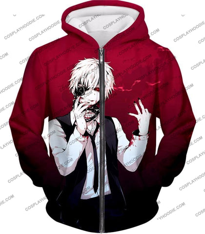 Image of Tokyo Ghoul Super Awesome White Haired Hero Ken Kaneki Cool Red T-Shirt Tg081 Zip Up Hoodie / Us Xxs