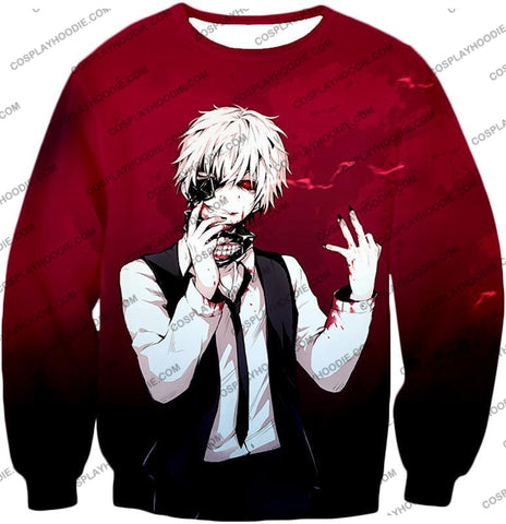 Image of Tokyo Ghoul Super Awesome White Haired Hero Ken Kaneki Cool Red T-Shirt Tg081 Sweatshirt / Us Xxs