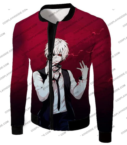Image of Tokyo Ghoul Super Awesome White Haired Hero Ken Kaneki Cool Red T-Shirt Tg081 Jacket / Us Xxs (Asian