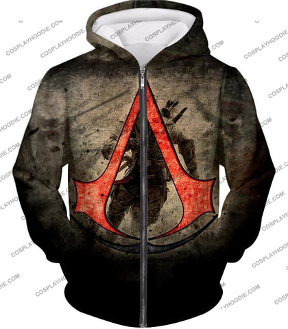 Image of Amazing Assassins Creed Iii Logo Promo Awesome Graphic T-Shirt Ac032 Zip Up Hoodie / Us Xxs (Asian