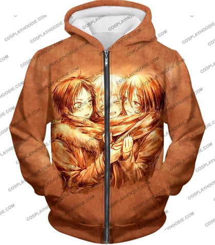 Image of Attack On Titan Three Best Childhood Friends Eren X Mikasa Armin Cool Anime Promo T-Shirt Aot082 Zip