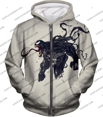 Alien Life Venom White Printed T-Shirt Ve032 Zip Up Hoodie / Us Xxs (Asian Xs)