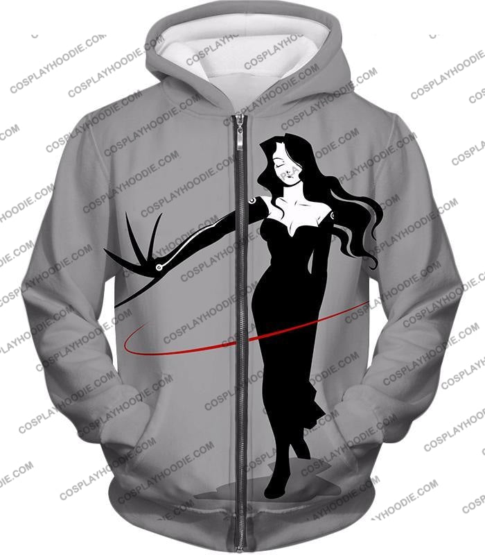 Fullmetal Alchemist Deadly Homunculi Lust Cool Anime Grey T-Shirt Fa032 Zip Up Hoodie / Us Xxs