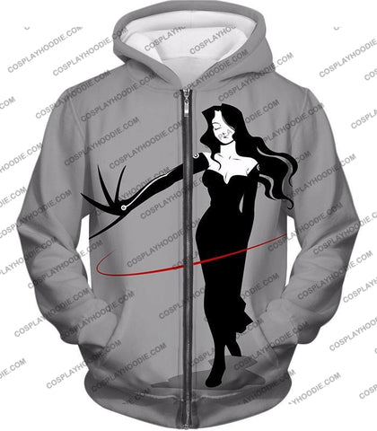 Image of Fullmetal Alchemist Deadly Homunculi Lust Cool Anime Grey T-Shirt Fa032 Zip Up Hoodie / Us Xxs