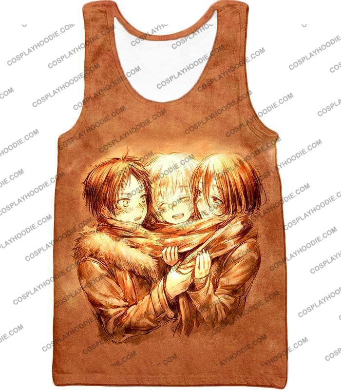 Attack On Titan Three Best Childhood Friends Eren X Mikasa Armin Cool Anime Promo T-Shirt Aot082