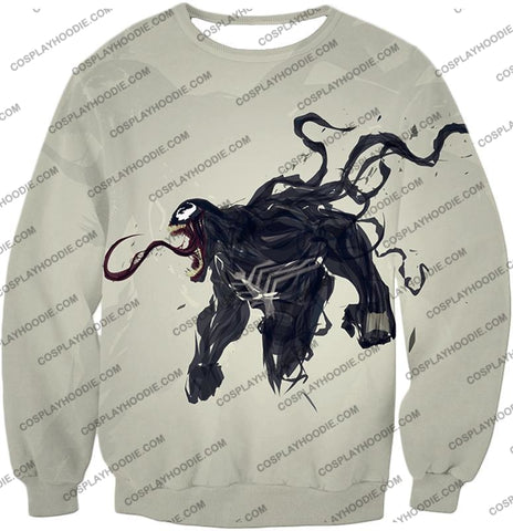 Alien Life Venom White Printed T-Shirt Ve032 Sweatshirt / Us Xxs (Asian Xs)