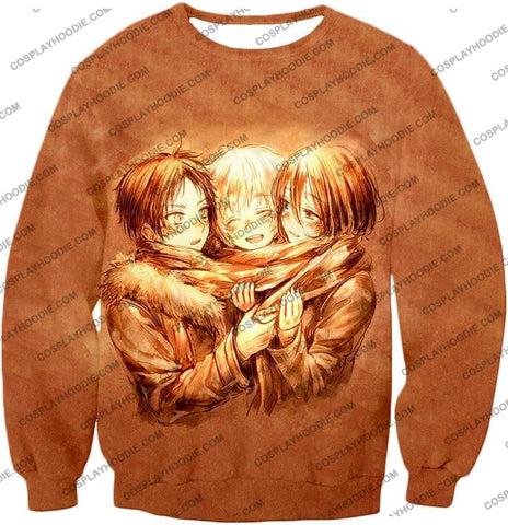 Image of Attack On Titan Three Best Childhood Friends Eren X Mikasa Armin Cool Anime Promo T-Shirt Aot082