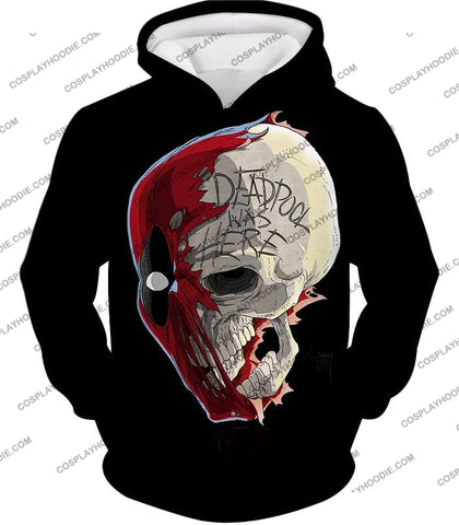 Image of Awesome Deadpool Skull Promo Cool Black T-Shirt Dp033 Hoodie / Us Xxs (Asian Xs)