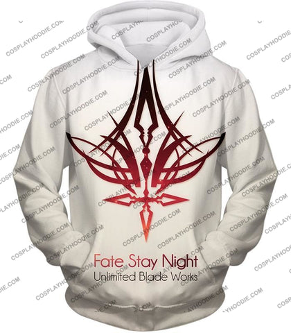 Image of Fate Stay Night Unlimited Blade Works White Promo T-Shirt Fsn033 Hoodie / Us Xxs (Asian Xs)