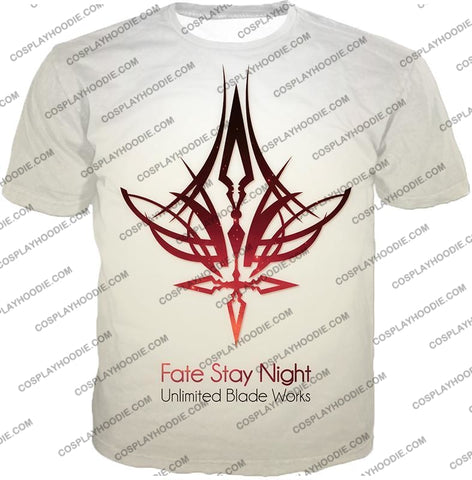 Image of Fate Stay Night Unlimited Blade Works White Promo T-Shirt Fsn033 / Us Xxs (Asian Xs)