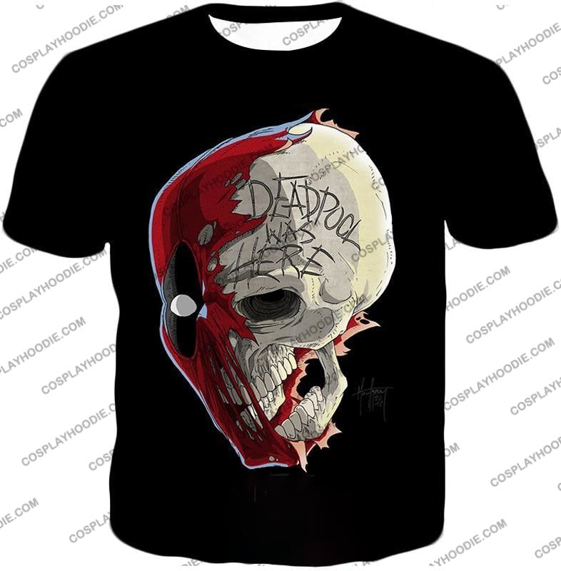 Awesome Deadpool Skull Promo Cool Black T-Shirt Dp033 / Us Xxs (Asian Xs)