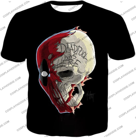 Image of Awesome Deadpool Skull Promo Cool Black T-Shirt Dp033 / Us Xxs (Asian Xs)