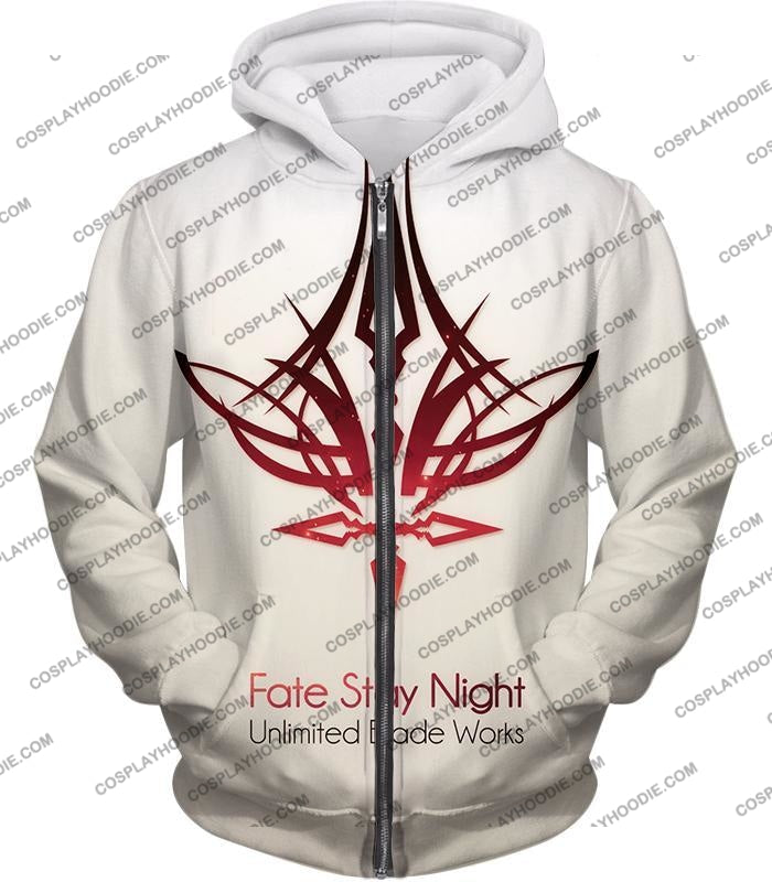 Fate Stay Night Unlimited Blade Works White Promo T-Shirt Fsn033 Zip Up Hoodie / Us Xxs (Asian Xs)