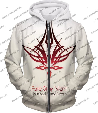 Image of Fate Stay Night Unlimited Blade Works White Promo T-Shirt Fsn033 Zip Up Hoodie / Us Xxs (Asian Xs)
