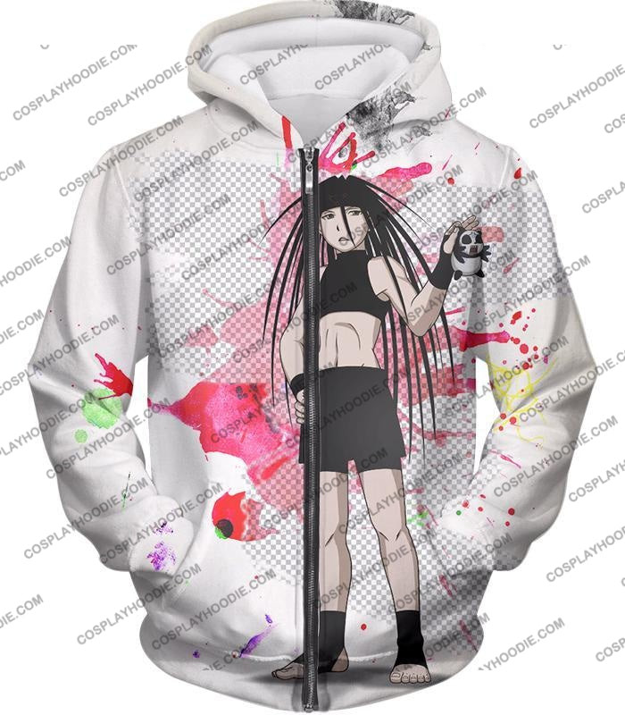 Fullmetal Alchemist Cool Long Haired Homunculi Envy Amazing Anime Promo White T-Shirt Fa033 Zip Up