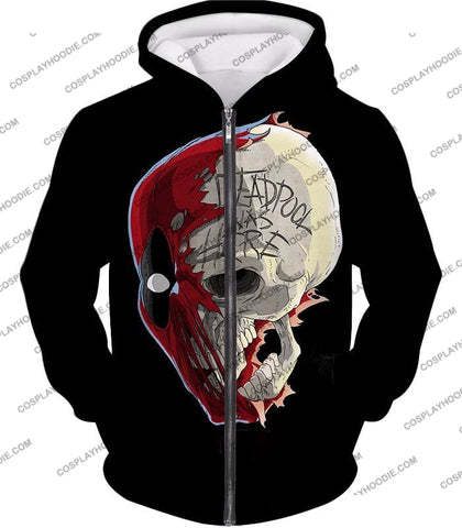 Image of Awesome Deadpool Skull Promo Cool Black T-Shirt Dp033 Zip Up Hoodie / Us Xxs (Asian Xs)