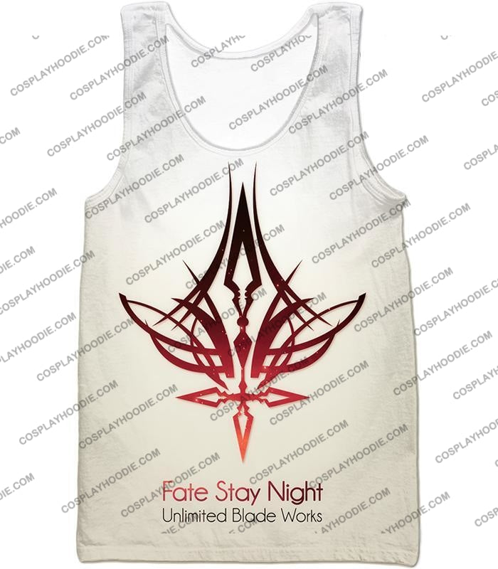 Fate Stay Night Unlimited Blade Works White Promo T-Shirt Fsn033 Tank Top / Us Xxs (Asian Xs)