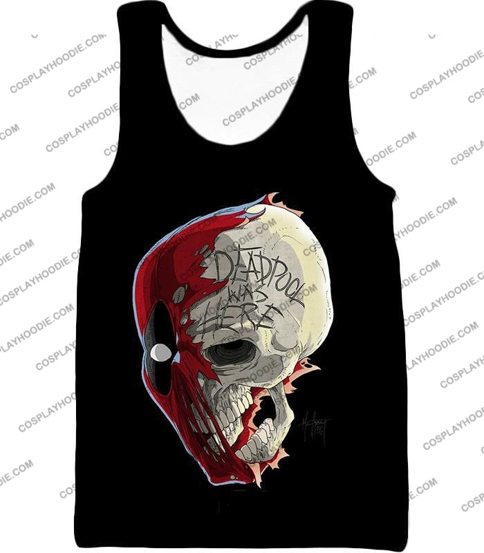 Awesome Deadpool Skull Promo Cool Black T-Shirt Dp033 Tank Top / Us Xxs (Asian Xs)
