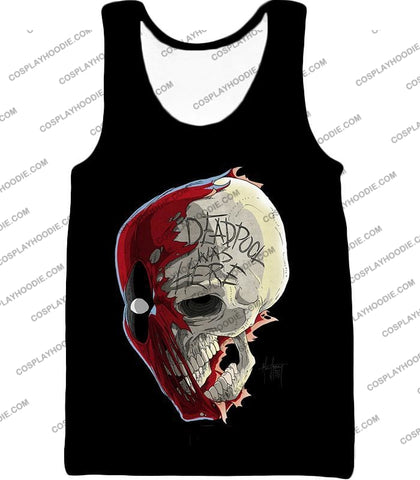 Image of Awesome Deadpool Skull Promo Cool Black T-Shirt Dp033 Tank Top / Us Xxs (Asian Xs)