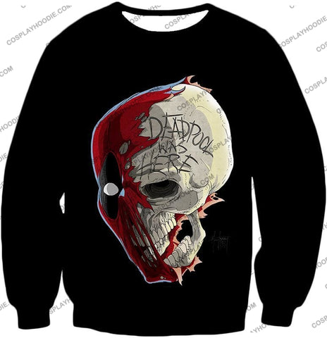 Image of Awesome Deadpool Skull Promo Cool Black T-Shirt Dp033 Sweatshirt / Us Xxs (Asian Xs)