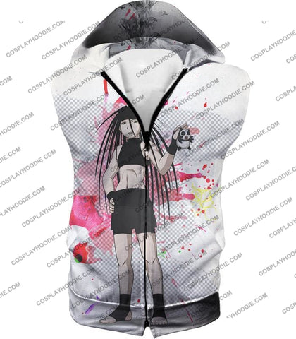 Image of Fullmetal Alchemist Cool Long Haired Homunculi Envy Amazing Anime Promo White T-Shirt Fa033 Hooded
