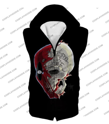 Image of Awesome Deadpool Skull Promo Cool Black T-Shirt Dp033 Hooded Tank Top / Us Xxs (Asian Xs)