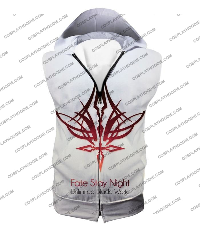 Fate Stay Night Unlimited Blade Works White Promo T-Shirt Fsn033 Hooded Tank Top / Us Xxs (Asian Xs)