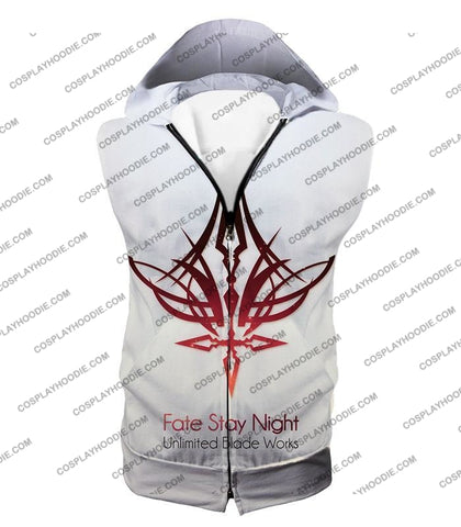 Image of Fate Stay Night Unlimited Blade Works White Promo T-Shirt Fsn033 Hooded Tank Top / Us Xxs (Asian Xs)