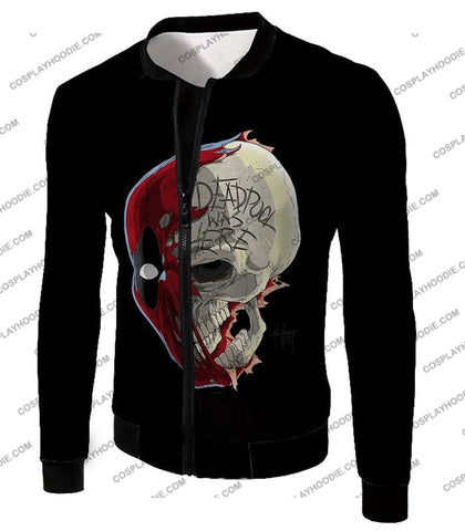 Image of Awesome Deadpool Skull Promo Cool Black T-Shirt Dp033 Jacket / Us Xxs (Asian Xs)