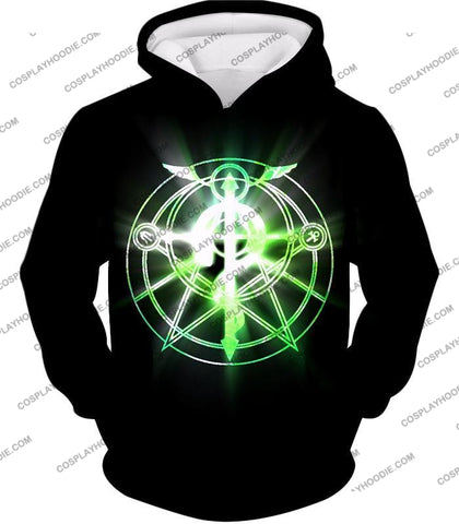 Image of Fullmetal Alchemist Awesome Alchemy Circle Symbol Black Anime T-Shirt Fa034 Hoodie / Us Xxs (Asian