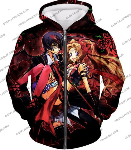 Image of Code Geass Super Cute Siblings Lelouch X Nunnaly Cool Anime Promo T-Shirt Cg034 Zip Up Hoodie / Us