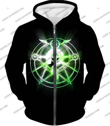 Image of Fullmetal Alchemist Awesome Alchemy Circle Symbol Black Anime T-Shirt Fa034 Zip Up Hoodie / Us Xxs
