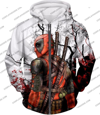 Image of Mutant Anti-Hero Deadpool Awesome White T-Shirt Dp034 Zip Up Hoodie / Us Xxs (Asian Xs)