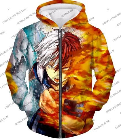 Image of My Hero Academia Favourite Anime Shoto Todoroki Awesome Half Cold Hot Promo T-Shirt Mha084 Zip Up