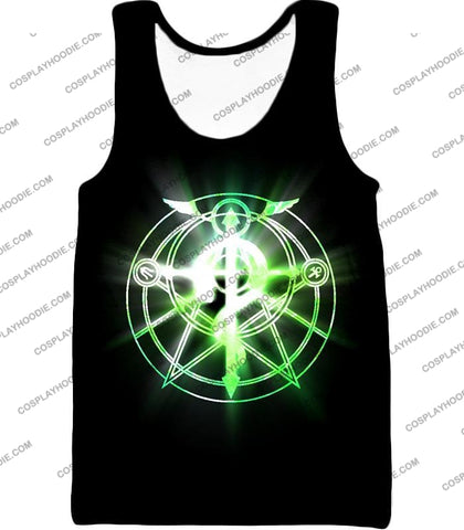 Image of Fullmetal Alchemist Awesome Alchemy Circle Symbol Black Anime T-Shirt Fa034 Tank Top / Us Xxs (Asian