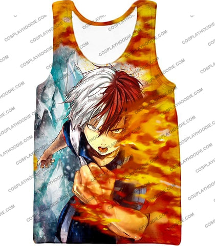 Image of My Hero Academia Favourite Anime Shoto Todoroki Awesome Half Cold Hot Promo T-Shirt Mha084 Tank Top