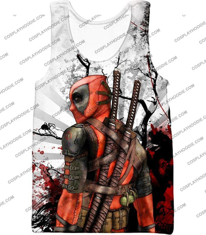 Image of Mutant Anti-Hero Deadpool Awesome White T-Shirt Dp034 Tank Top / Us Xxs (Asian Xs)
