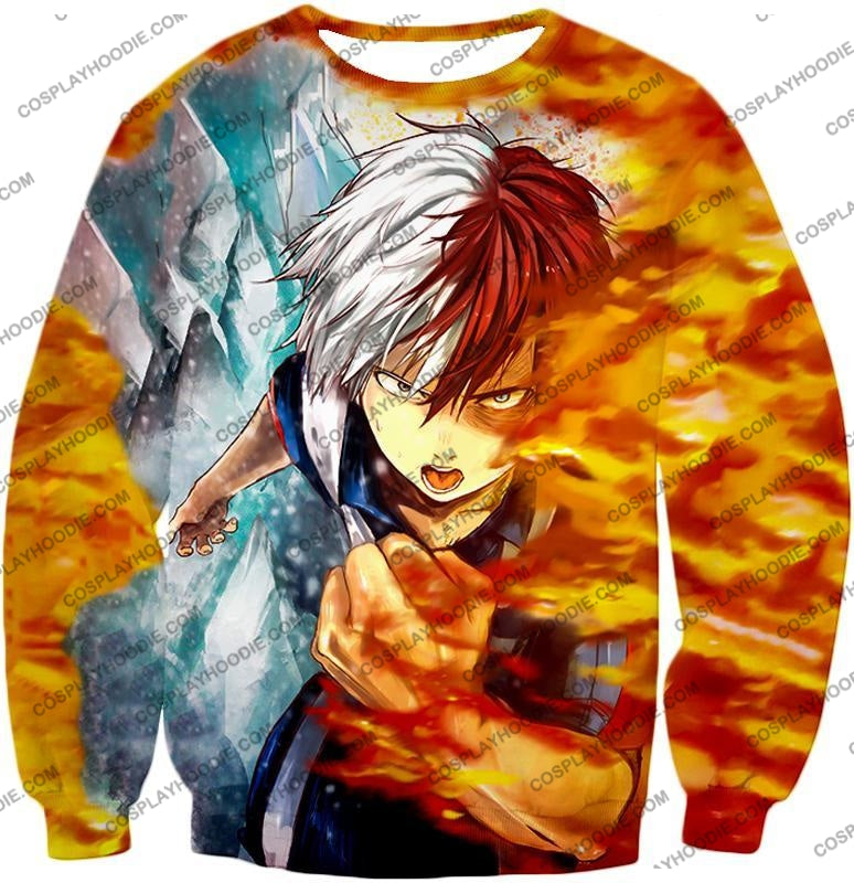 My Hero Academia Favourite Anime Shoto Todoroki Awesome Half Cold Hot Promo T-Shirt Mha084