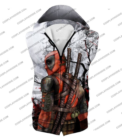 Image of Mutant Anti-Hero Deadpool Awesome White T-Shirt Dp034 Hooded Tank Top / Us Xxs (Asian Xs)