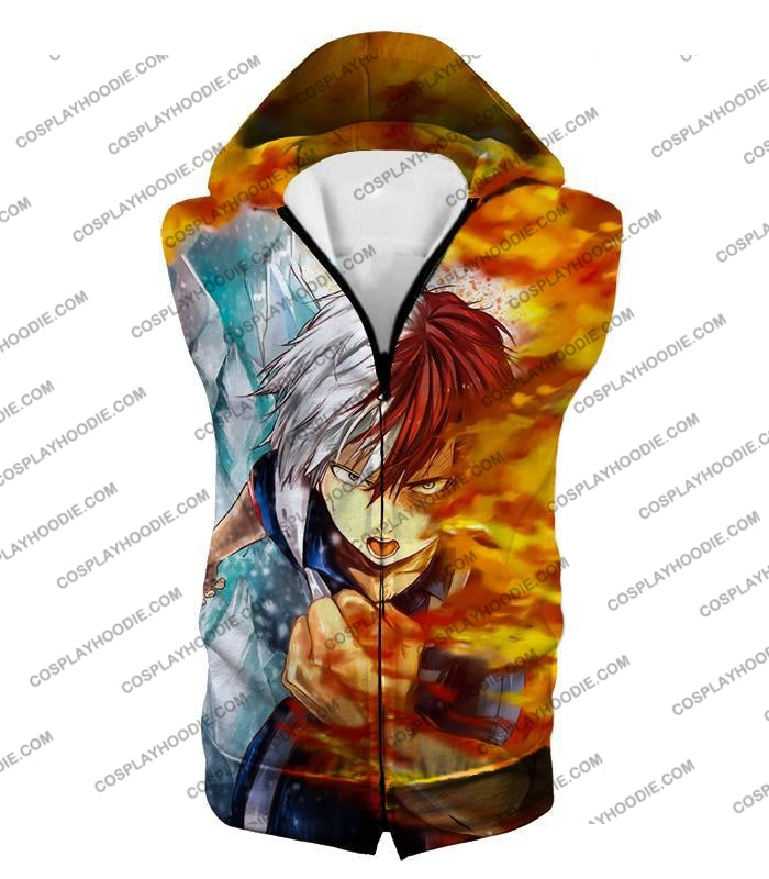 My Hero Academia Favourite Anime Shoto Todoroki Awesome Half Cold Hot Promo T-Shirt Mha084 Hooded