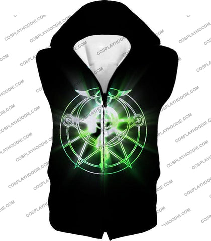 Image of Fullmetal Alchemist Awesome Alchemy Circle Symbol Black Anime T-Shirt Fa034 Hooded Tank Top / Us Xxs